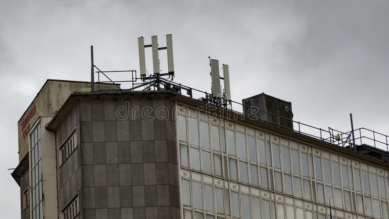 Telecommunications Repeater Plant In an Urban City stock photography