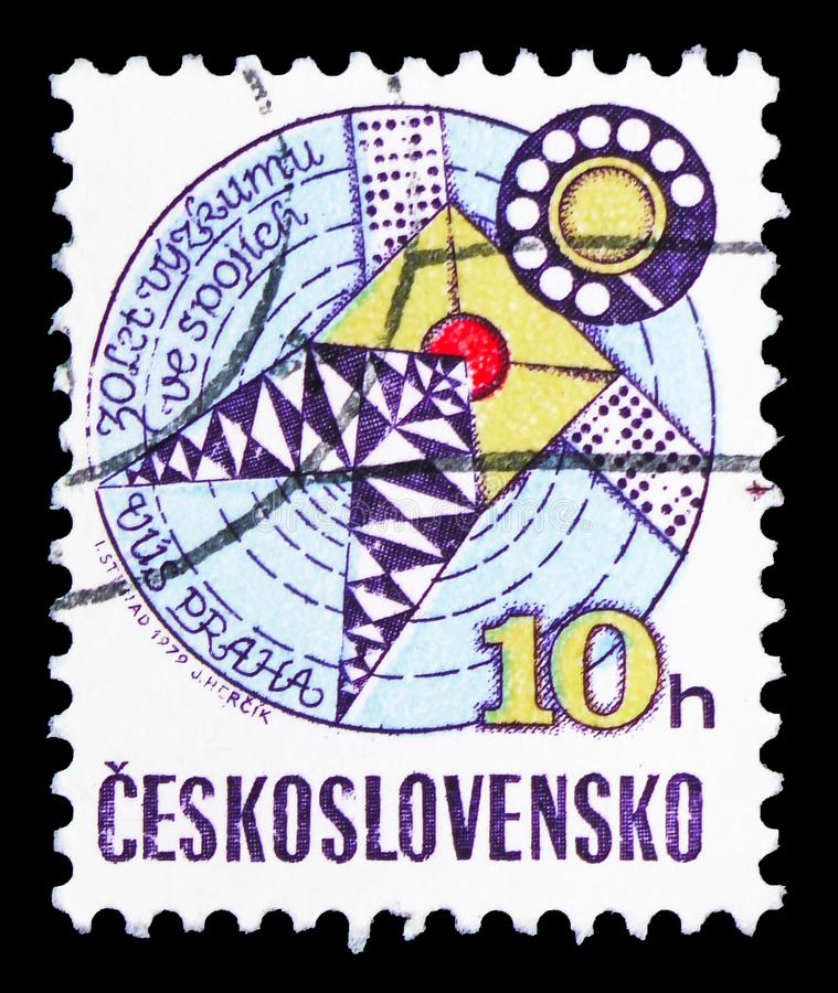 Telecommunications research, 30th anniversary, serie, circa 1979. MOSCOW, RUSSIA - FEBRUARY 10, 2019: A stamp printed in Czechoslovakia shows Telecommunications stock images