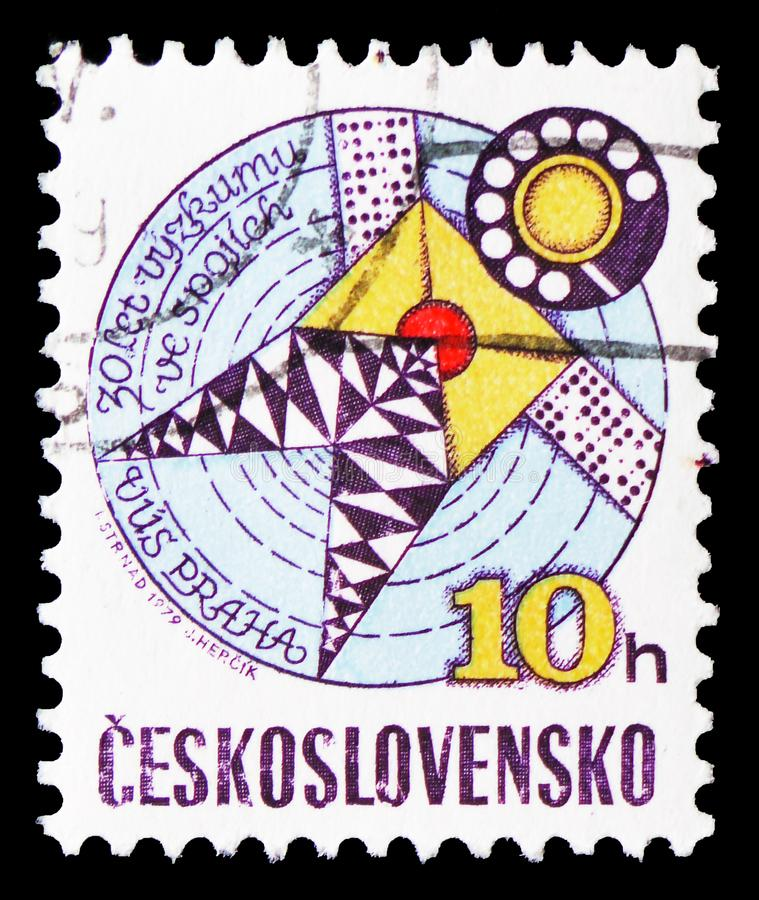 Telecommunications research, 30th anniversary, serie, circa 1979. MOSCOW, RUSSIA - FEBRUARY 21, 2019: A stamp printed in Czechoslovakia shows Telecommunications stock image