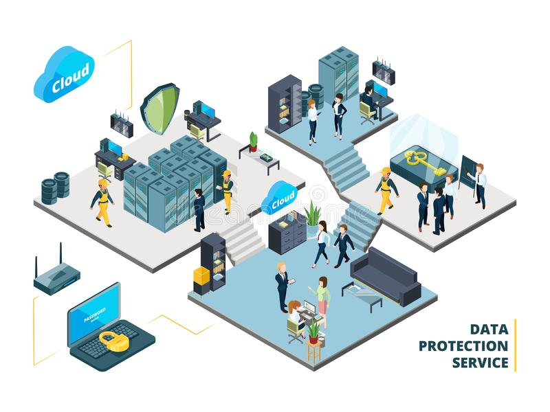 Telecommunications tools. Big datacenter with specific systems and cloud servers. Isometric illustrations of network. Company interior datacenter with people royalty free illustration