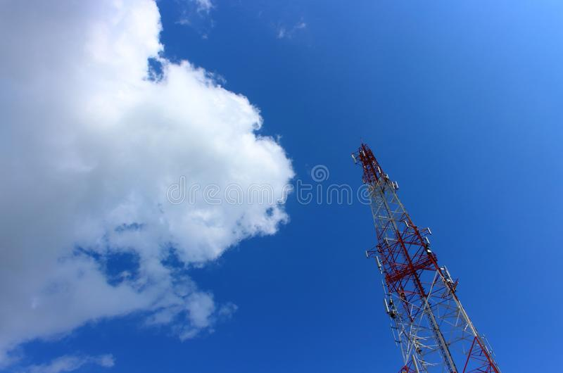Antenna tower in sky with cloud stock photo