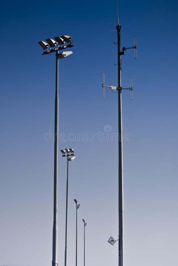 Download Telecommunications Tower & Floodlights Stock Photo - Image of infrastructure, network: 12787192