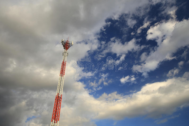 Telecommunications tower and the sky stock photo
