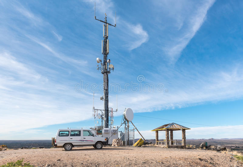 Telecommunications tower and viewpoint on Tierberg in Keimoes. KEIMOES, SOUTH AFRICA - JUNE 12, 2017: A telecommunications tower and viewpoint on Tierberg Tiger royalty free stock photos
