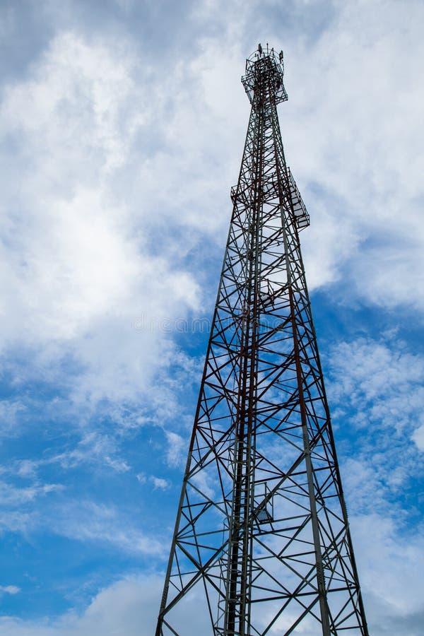 Telecommunications towers. Telecommunications antenna mast height of telecommunications signaling royalty free stock photo