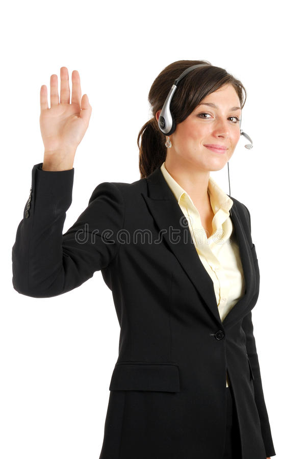 Download Telecommunications Woman With Her Hand Raised Stock Image - Image: 10469113