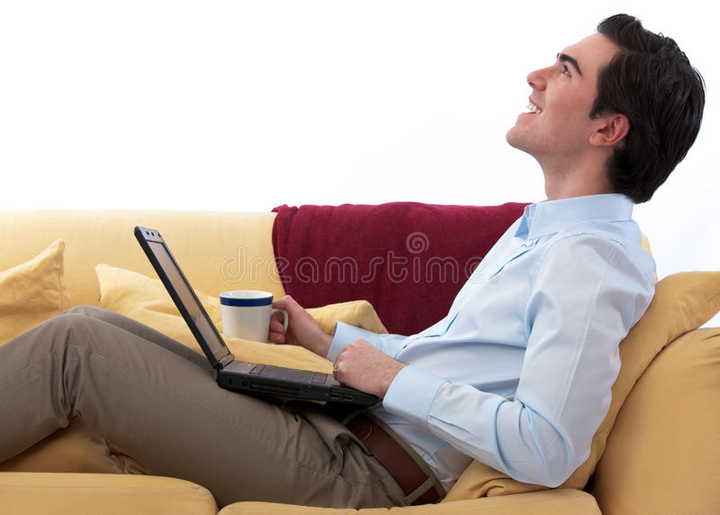 Telecommuting Relaxed imagem de stock