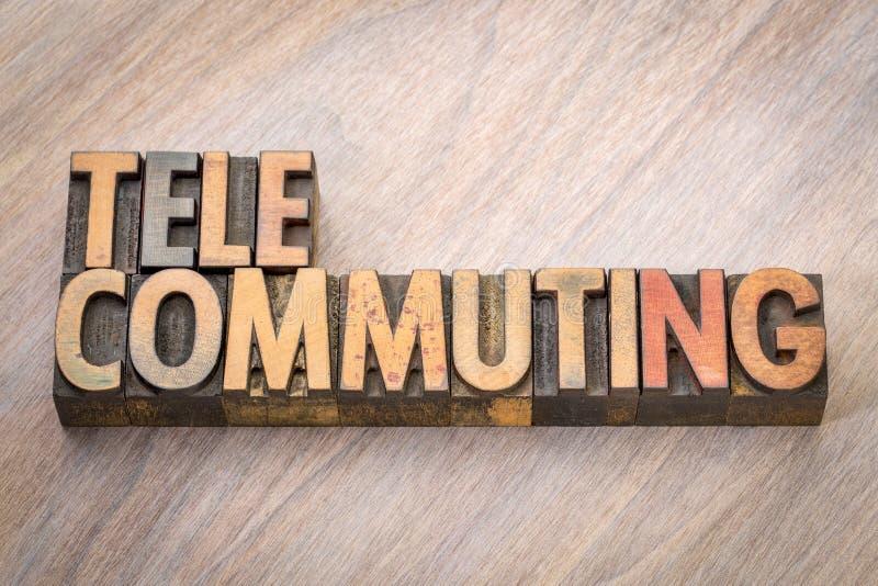 Telecommuting słowo w drewnianym typ zdjęcie stock