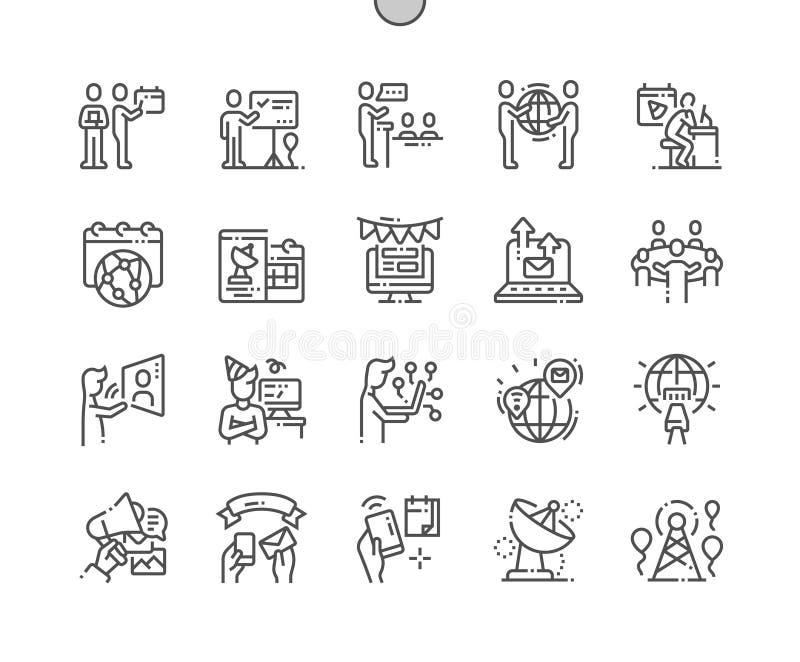 Telecomunicaci?n del mundo y l?nea fina Bien-hecha a mano d?a iconos del vector perfecto del pixel de la sociedad de la informaci stock de ilustración