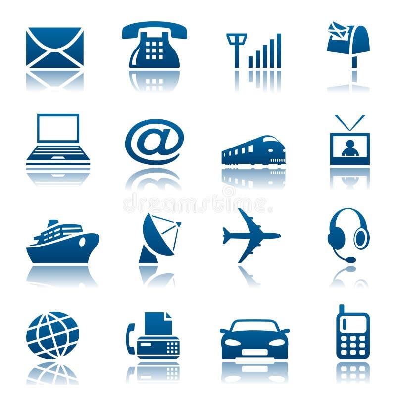 Telecomunicaciones y iconos del transporte stock de ilustración