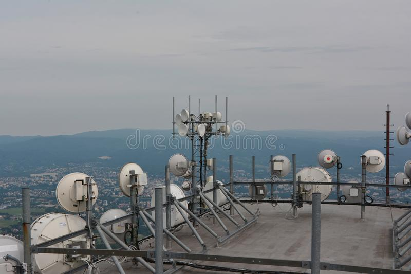 Telecomunications antennas WIFI royalty free stock photos