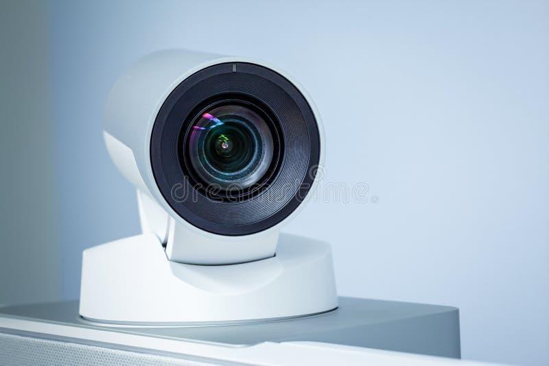 Teleconference-, videokonferens- eller telepresencekameracloseup royaltyfri foto