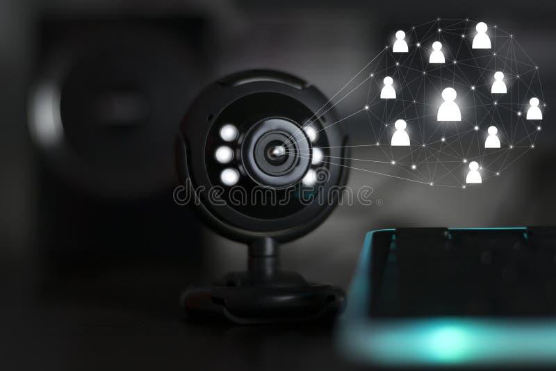 Teleconferenza webinar della macchina fotografica di web del Usb immagine stock