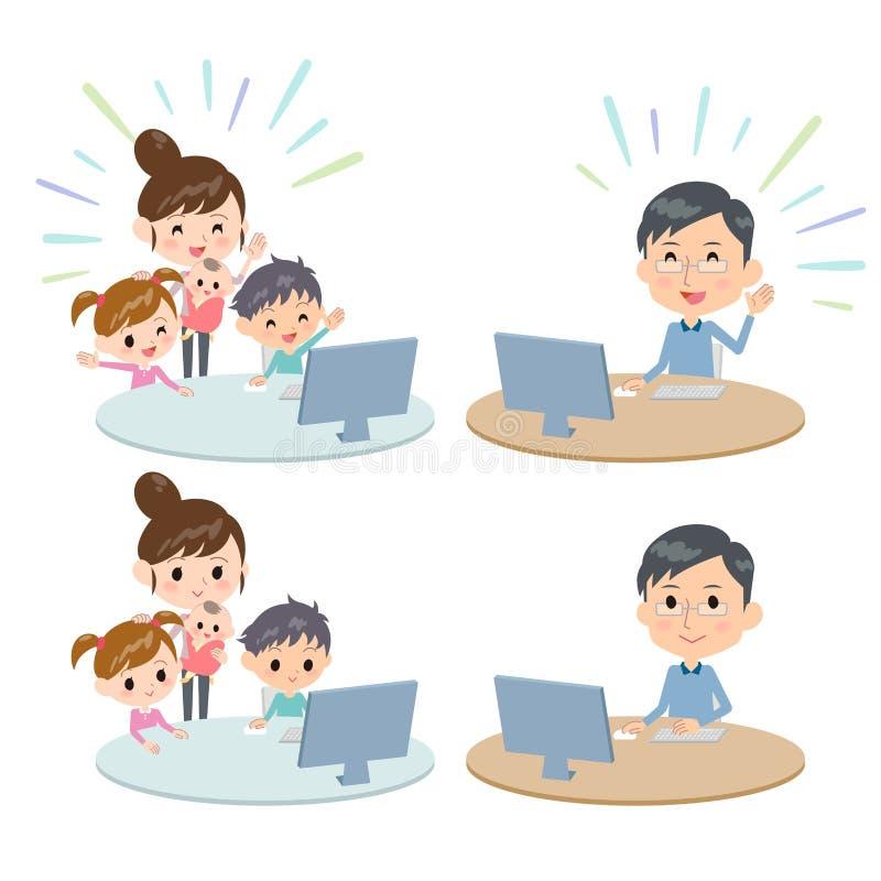 Telecontrol de la comunicación de Internet de las generaciones de la familia 2 ilustración del vector