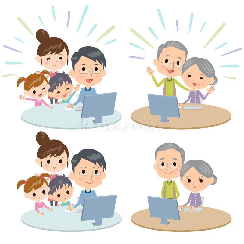 Telecontrol de la comunicación de Internet de las generaciones de la familia tres stock de ilustración