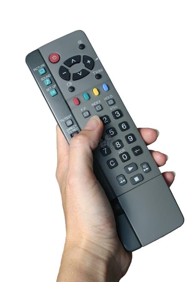 Download Telecontrol Sostenido Por La Mano De La Mujer Imagen de archivo - Imagen de televisión, control: 184701