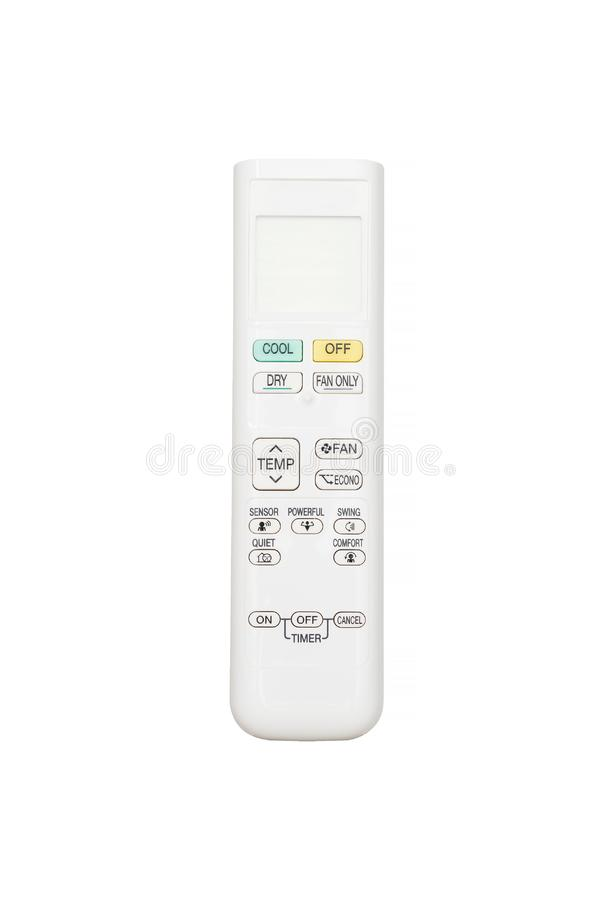 Telecontrole do condicionador de ar isolado no fundo branco fotografia de stock