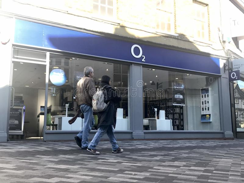 O2 store. Telefónica UK Limited trading as O2 – stylised as O2 is a telecommunications services provider in the United Kingdom, owned by the Spanish stock images