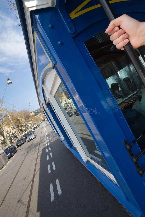 teleférico Barcelona España del blau del tramvia imagen de archivo libre de regalías