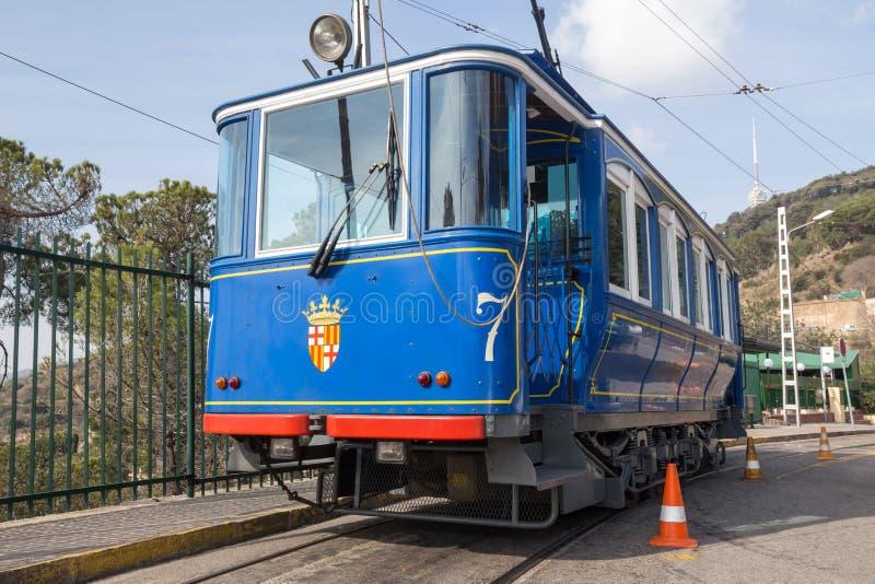 teleférico Barcelona España del blau del tramvia fotos de archivo