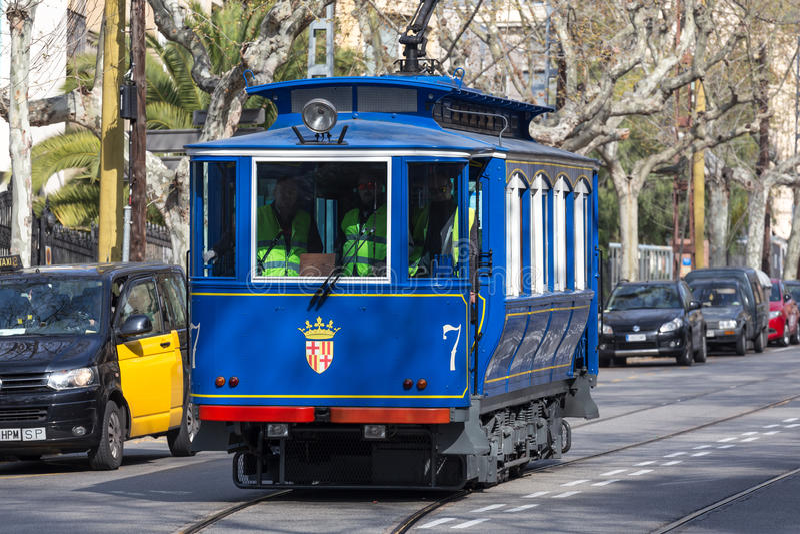 teleférico Barcelona España del blau del tramvia foto de archivo libre de regalías