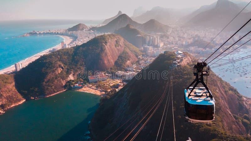 Teleférico de la ciudad de Rio de Janeiro foto de archivo