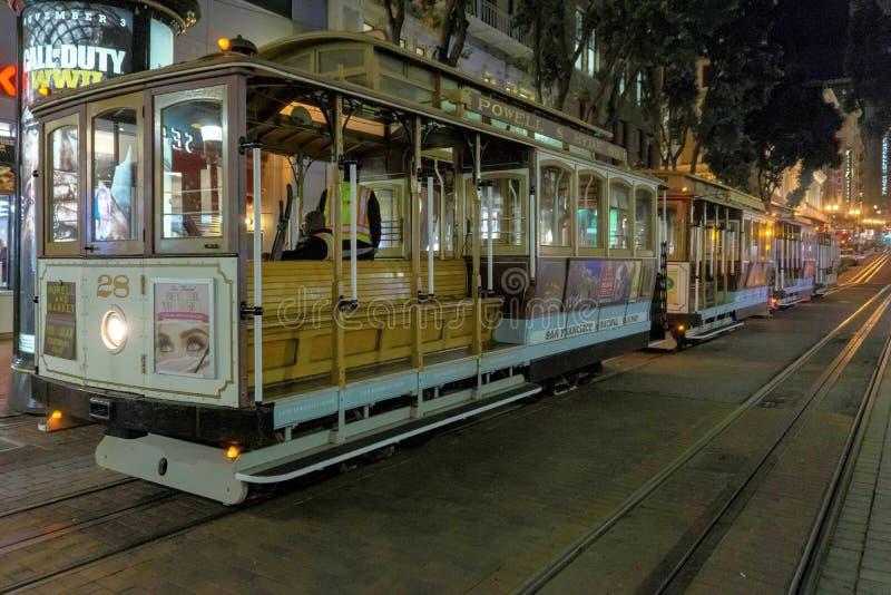 Teleférico de San Francisco na noite fotografia de stock