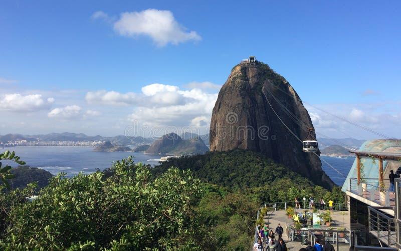 Teleférico ( de Sugar Loaf Mountain; Pão de Açúcar) , Rio de janeiro, Brasil imagem de stock