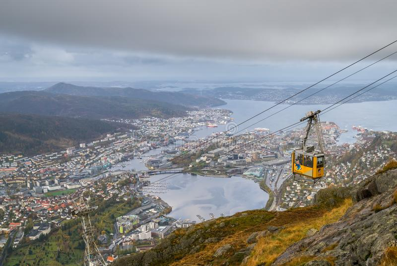 Teleférico de Ulriksbanen em Bergen imagens de stock royalty free