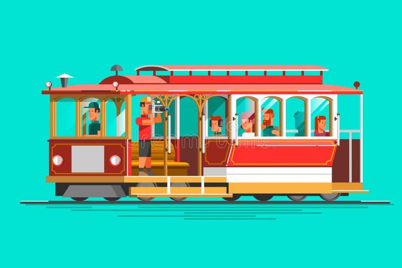 Teleférico detallado retro del vector, visión 3d, aislada Transite el elemento gráfico del vintage en el coche de carril del cabl libre illustration