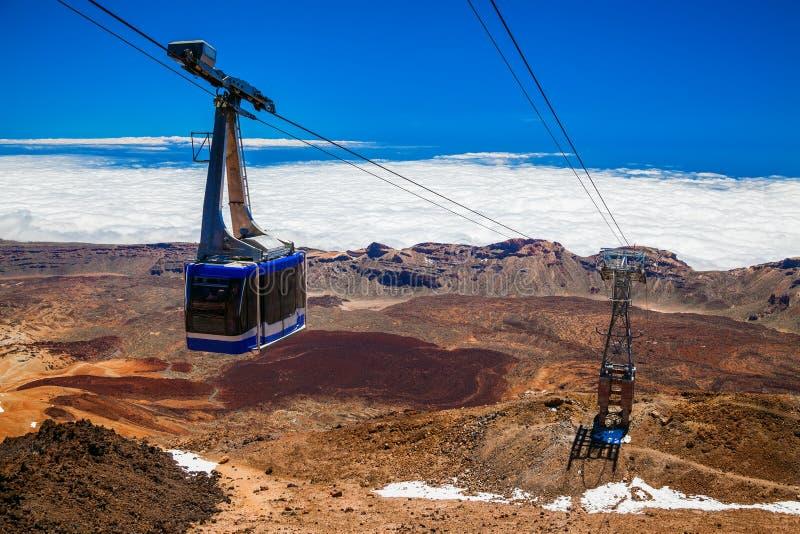 Teleférico em um cabo aéreo ao vulcão Teide foto de stock