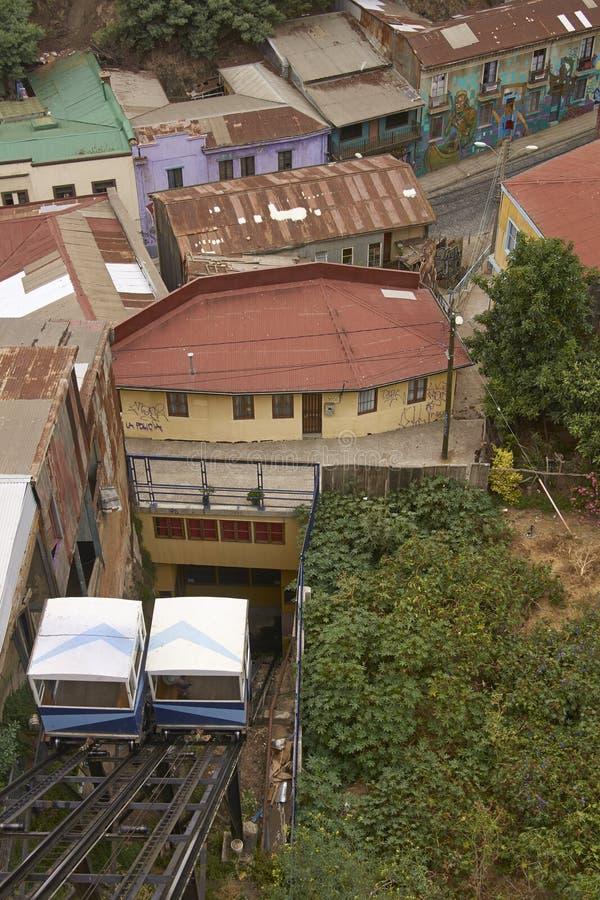 Teleférico histórico em Valparaiso, o Chile imagem de stock royalty free