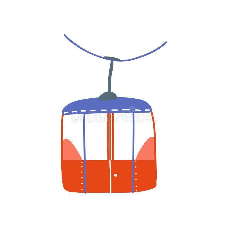 Teleférico, ilustração vermelha do vetor dos desenhos animados da cabine do Ropeway ilustração royalty free