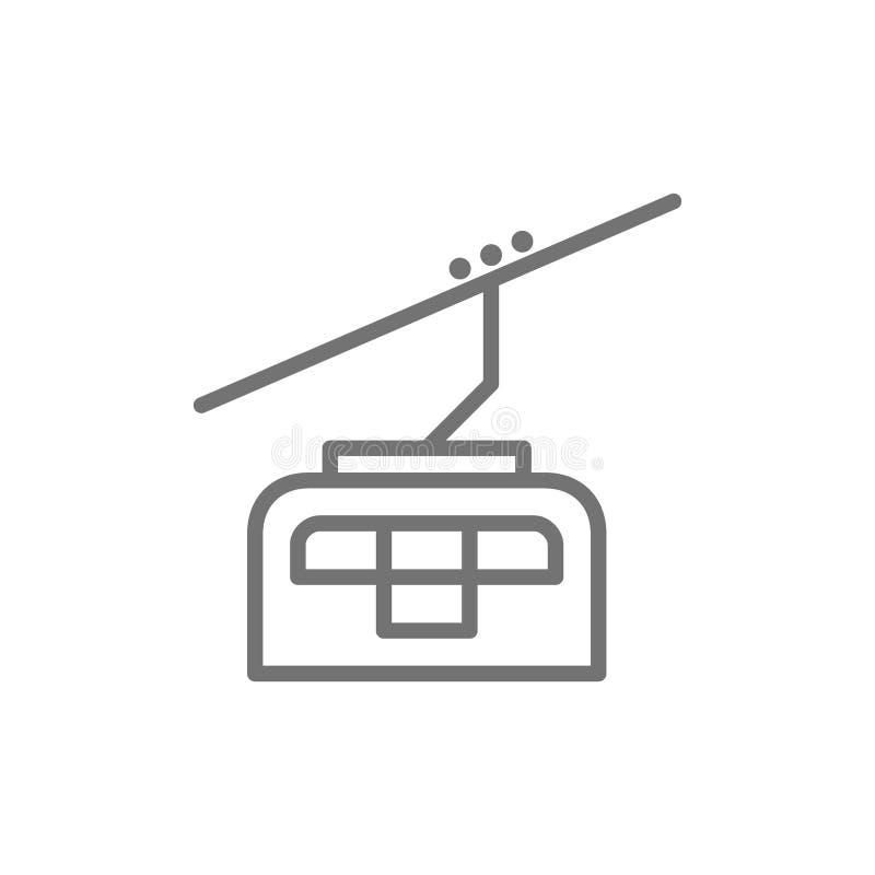 Teleférico, linha ícone do elevador do cabo do esqui ilustração royalty free