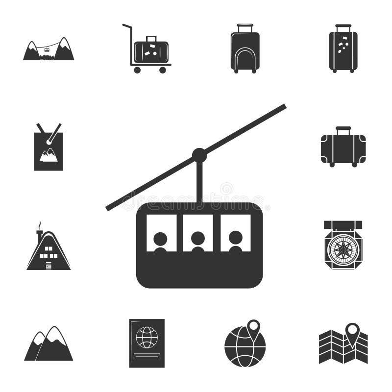 Teleférico, linha ícone do teleférico Grupo detalhado de ícones do curso Projeto gráfico superior Um dos ícones da coleção para W ilustração do vetor