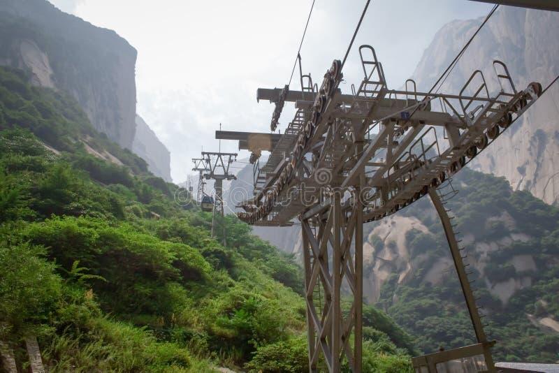 Teleférico na montanha amarela Huangshan, China Teleféricos de Huangshan da montagem foto de stock royalty free