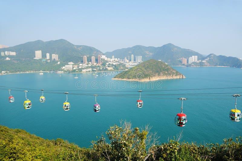 Teleférico no parque Hong Kong do oceano imagem de stock