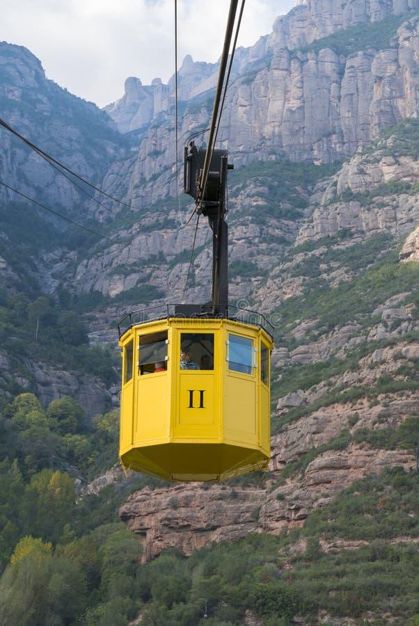 Teleférico a Santa Maria de Montserrat Abbey na montagem de Monserrate imagens de stock royalty free