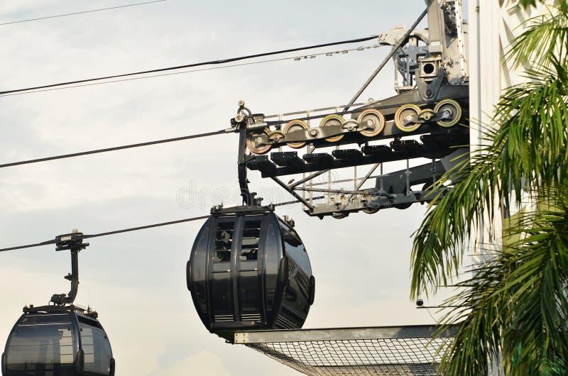 Teleféricos de Singapur a Sentosa fotografía de archivo libre de regalías