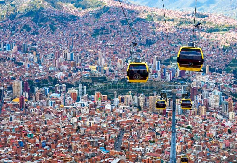 Teleféricos em La Paz bolívia imagem de stock royalty free
