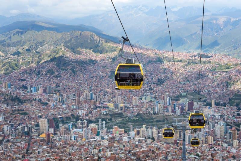 Teleféricos em La Paz bolívia fotografia de stock