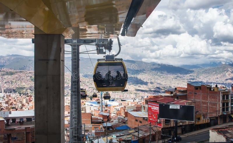 Teleféricos em La Paz bolívia fotografia de stock royalty free