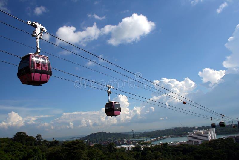 Teleféricos en Singapur foto de archivo libre de regalías