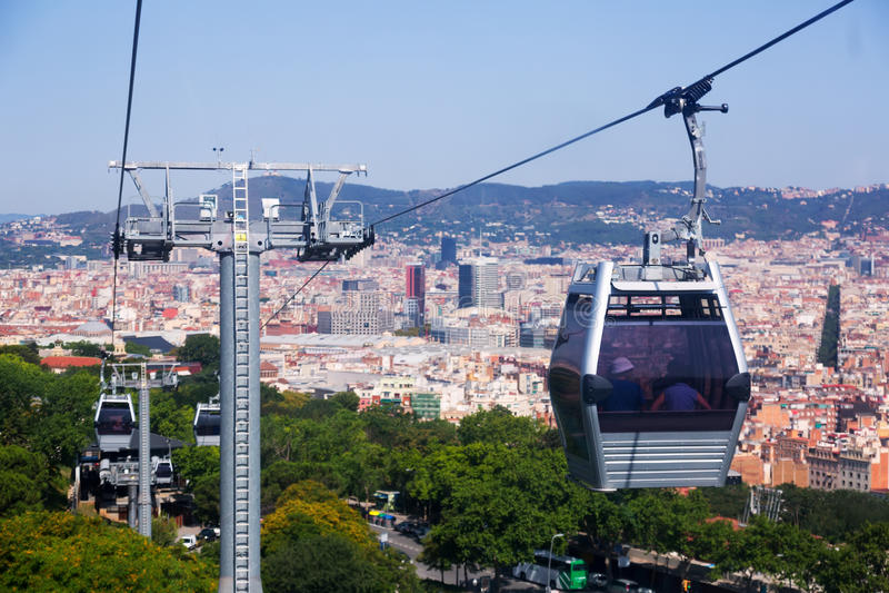 Teleferic de Montjuic à Barcelone images libres de droits