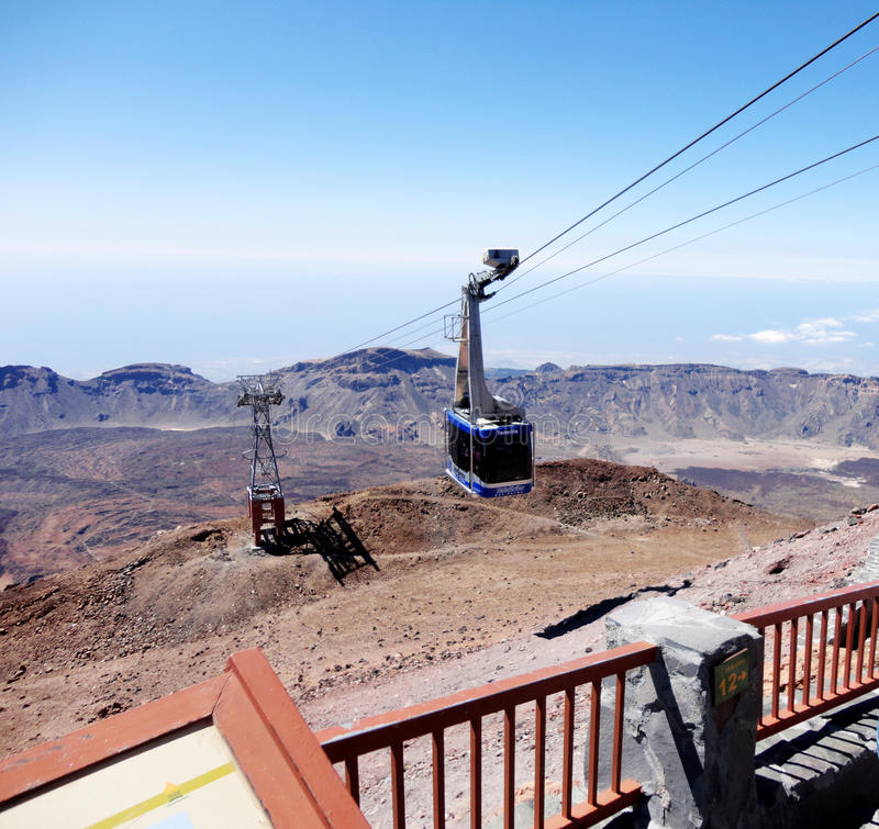 Teleferic in Teide mountain in Tenerife, Canary islands, Spain stock image