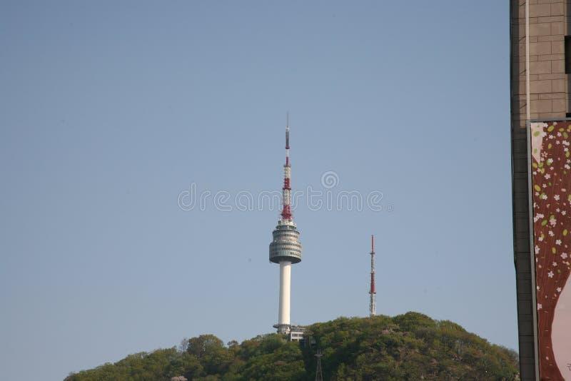 Teleferica alla torretta di Seoul korea fotografie stock libere da diritti