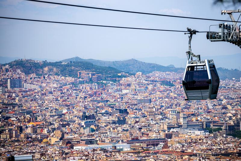 Teleferica da Barcellona Montjuic - in Catalogna Spagna immagini stock