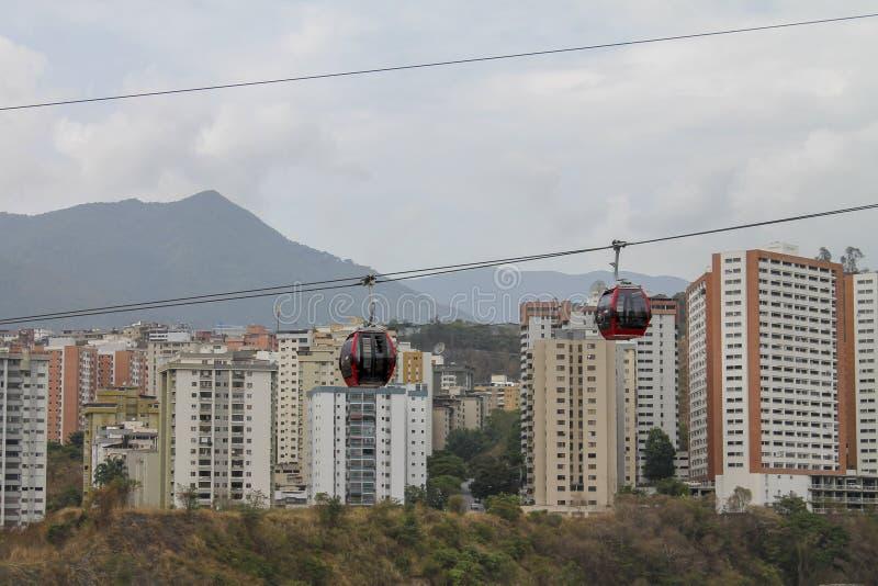 Teleferica veduta da Palo Verde a Caracas, Venezuela fotografia stock