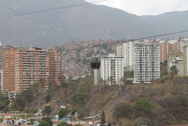 Teleferica veduta da Palo Verde a Caracas, Venezuela fotografia stock libera da diritti