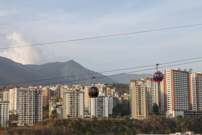 Teleferica veduta da Palo Verde a Caracas, Venezuela immagine stock